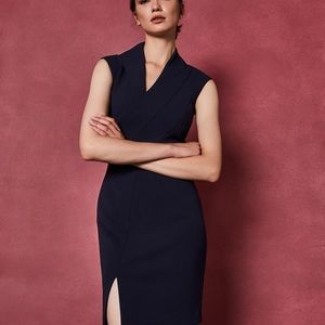 GEODESE Wrap front pencil dress